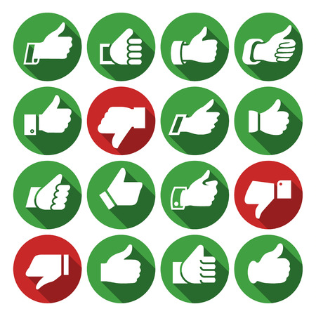 Thumbs up, set icons on round buttons, hands with shadow. Vector illustration Vector