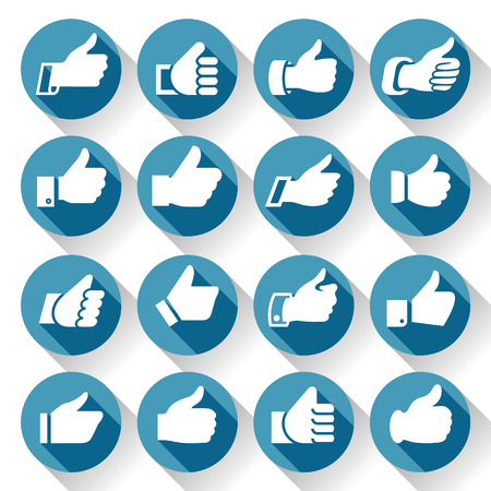 finger up: Thumbs up, set icons on round blue buttons, hands with shadow. Vector illustration