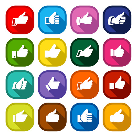Thumbs up, set icons on round colored buttons, hands with shadow. Vector illustration Illustration