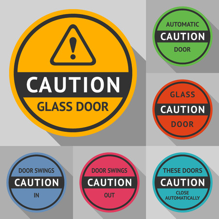 automatic doors: Stickers and labels on the door. Vector illustration