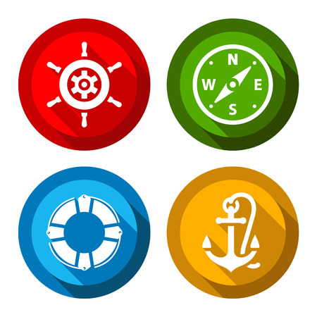 mooring anchor: Set of travel flat colored buttons, vector illustrations Illustration