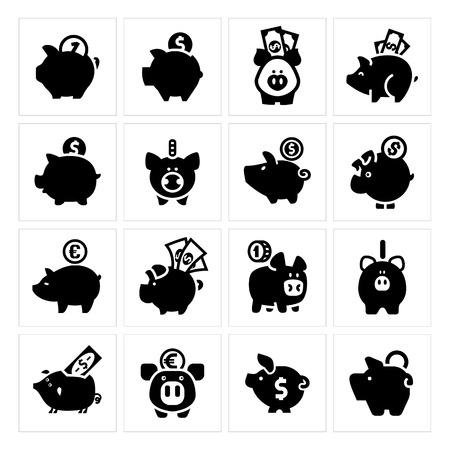 wage: Piggy bank set, isolated black icons on a white background. Vector illustration, web design elements. Illustration