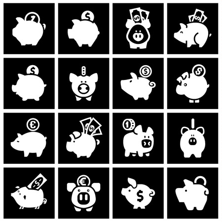 Piggy bank, set white icons on black squares. Vector illustration Vector