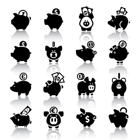 coin bank: Piggy bank set, isolated black icons with reflection on a white background. Vector illustration, web design elements.