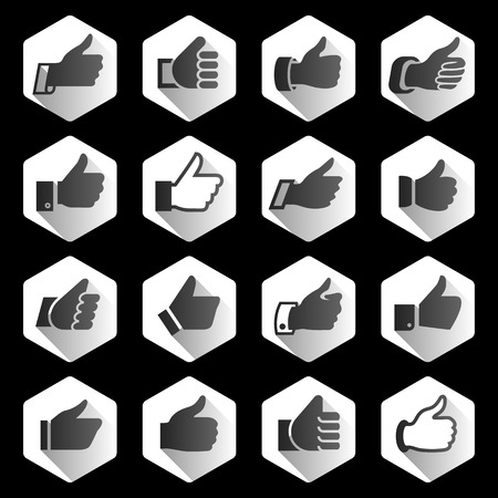 Like, set black icons on white rounded hexagon. Flat vector button for internet Vector