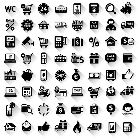 Set flat black icons, symbols with shadow. Vector