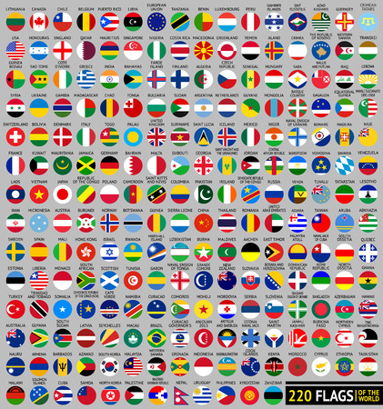 220 Flags of the world, circular shape, flat vector illustration Illustration