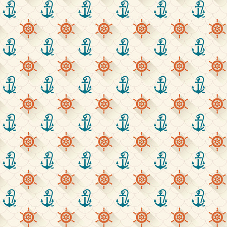 Seamless patterns, steering whee and anchors, with shadow, vector illustrations Vector