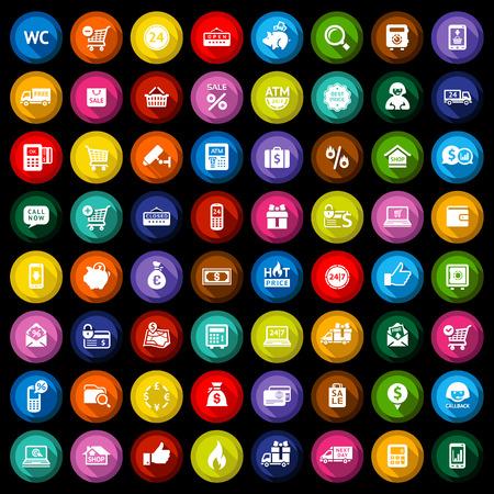 cash dispense: Shopping flat colored icons set on black background  Vector illustration Illustration