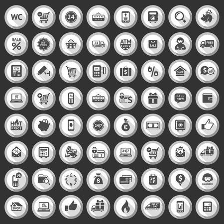 cash dispense: Shopping flat gray icons set on dark background  Vector illustration