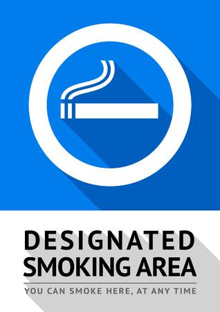 abstain: Label smoking area sticker, vector illustration