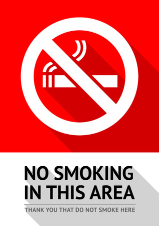 Label No smoking sticker, flat vector illustration Ilustração