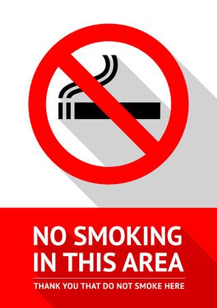 prohibido fumar: Ninguna etiqueta engomada de fumar, ilustración vectorial plana Vectores