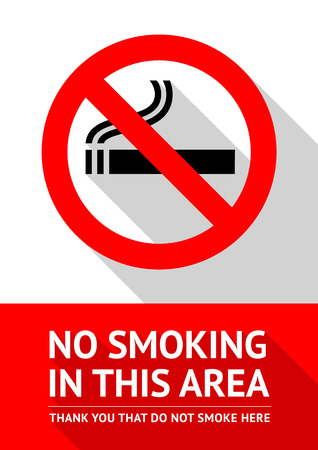 no label: No smoking sticker, flat vector illustration
