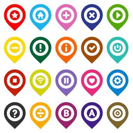 push pin icon: 20 Map pins, color set, vector illustration