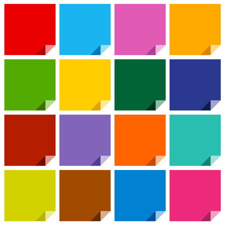 cerulean: Set of 16 colored blank squares with bent angles.   Illustration