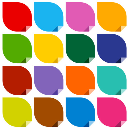 16 colored blank stickers. Vector illustration Vector