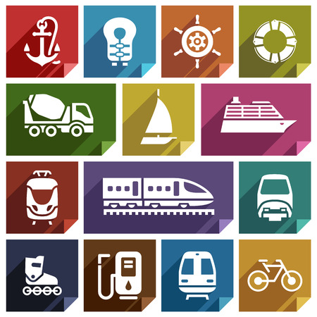 mooring: Transport flat icons with shadow, stickers square shapes, retro colors Illustration