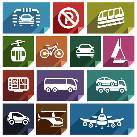 Transport flat icons with shadow, stickers square shapes, retro colors  Vector