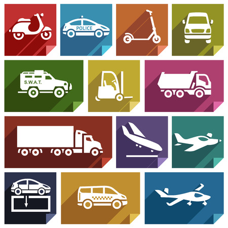 family van: Transport flat icons with shadow, stickers square shapes, retro colors   Illustration
