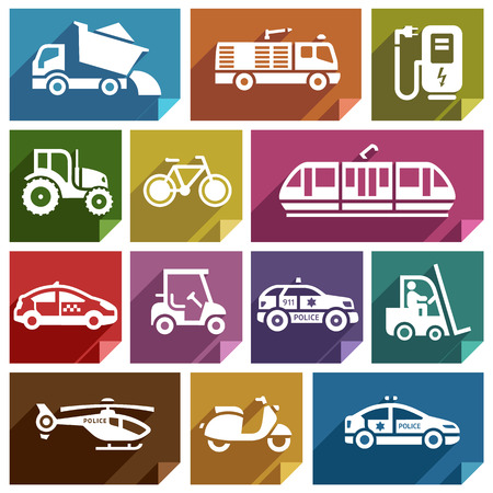 tramcar: Transport flat icons with shadow, stickers square shapes, retro colors  Illustration