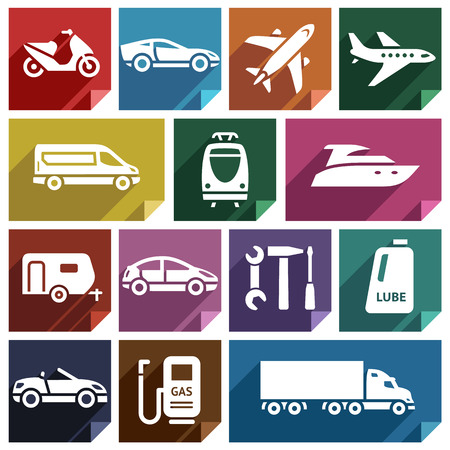 lube: Transport flat icons with shadow, stickers square shapes, retro colors  Illustration
