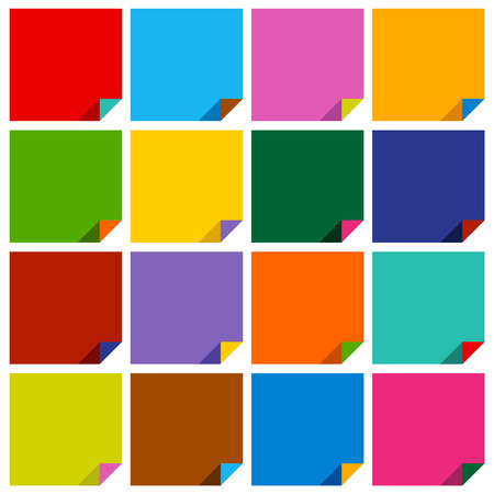 set of 16 blank squares with bent colored angles Vector