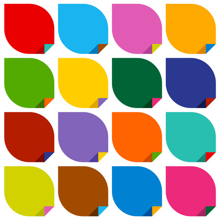 cerulean: set of 16 blank stickers with bent colored angles.