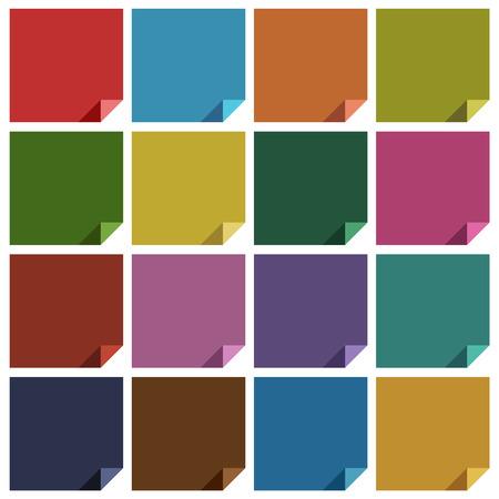 cerulean: 16 retro colored blank square. Vector illustration Illustration
