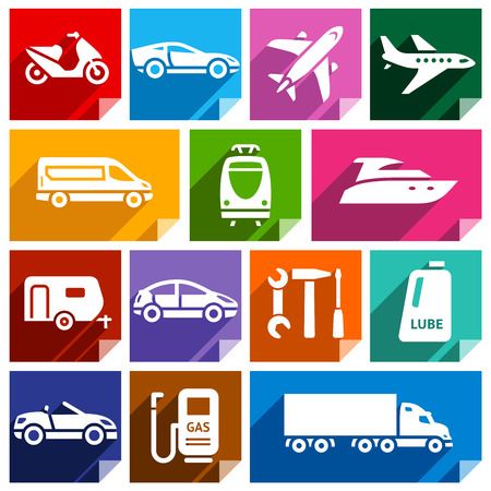 lube: Transport flat icons with shadow, stickers square shapes, bright colors  Illustration
