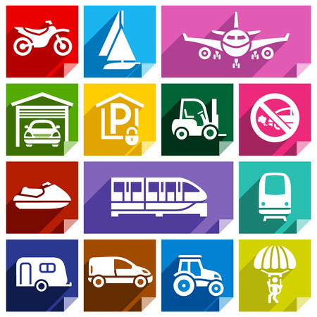 Transport flat icons with shadow, stickers square shapes, bright colors  Vector