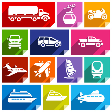 Transport flat icons with shadow, stickers square shapes, bright colors  Illustration