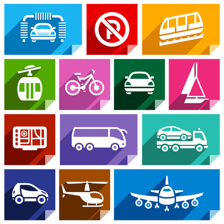 Transport flat icons with shadow, stickers square shapes, bright colors Stock Vector - 28584119