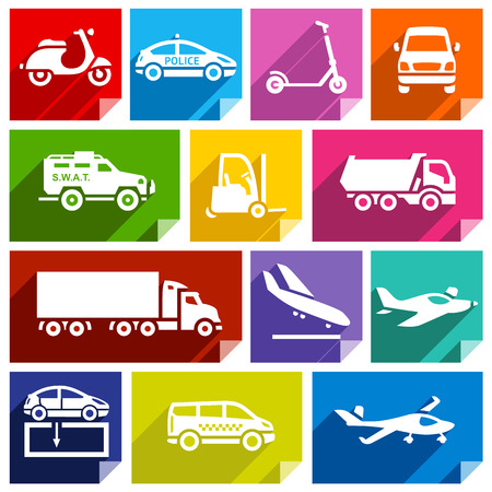 Transport flat icons with shadow, stickers square shapes