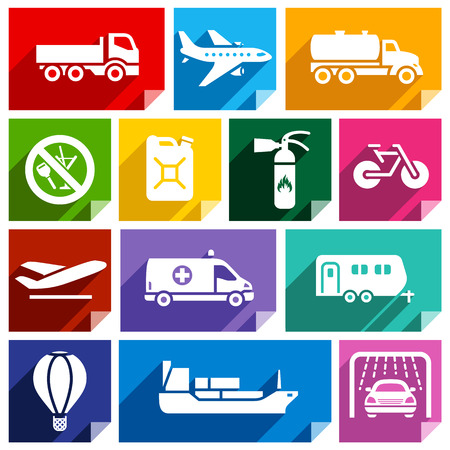 cistern: Transport flat icons with shadow, stickers square shapes, bright colors