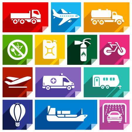 camión cisterna: Transporte los iconos planos con la sombra, pegatinas formas cuadradas, colores brillantes