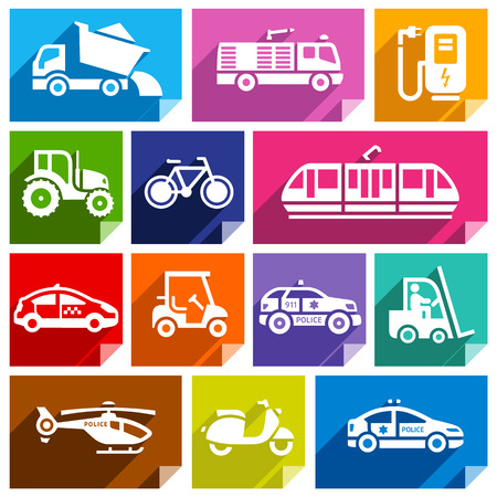 agrimotor: Transport flat icons with shadow, stickers square shapes, bright colors
