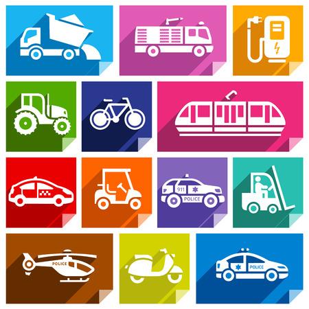 streetcar: Transporte los iconos planos con la sombra, pegatinas formas cuadradas, colores brillantes