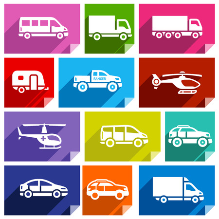 sprinter van: Transport flat icons with shadow, stickers square shapes, bright colors