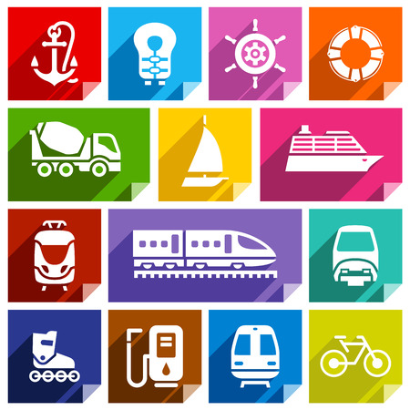 life preserver: Transport flat icons with shadow, stickers square shapes, bright colors  Illustration