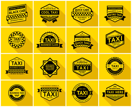 new york taxi: Taxi badge with shadow, vector illustration