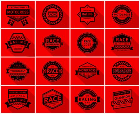 motorsport: Racing badge set, vector illustration