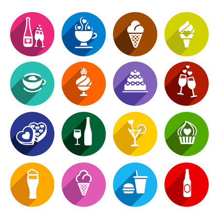 Set icons-food, colorful flat design, vector illustration for web applications Vector