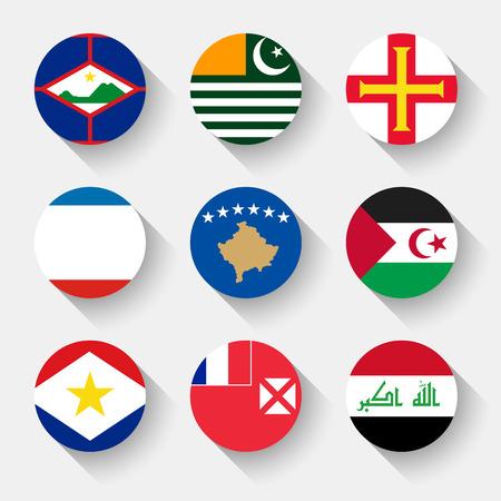 sahrawi arab democratic republic: Flags of the world, set 05 with shadow
