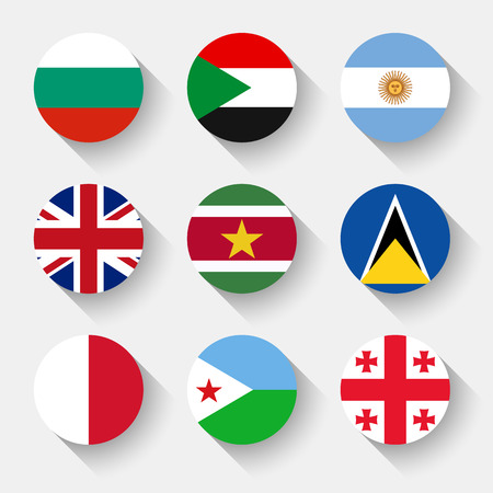 flags world: Flags of the world, set 08 with shadow Illustration