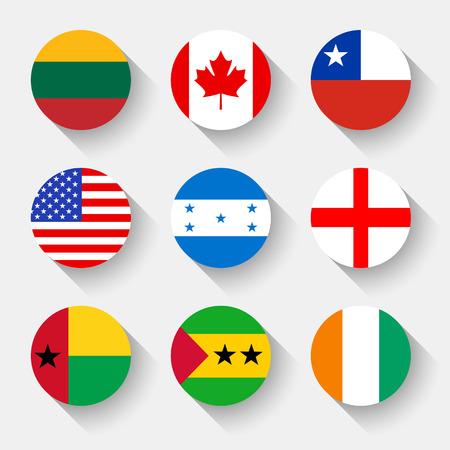 Vlaggen van de wereld, stelt 01 met schaduw Stock Illustratie