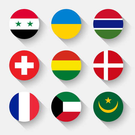 Flags of the world, set 06 with shadow Vector