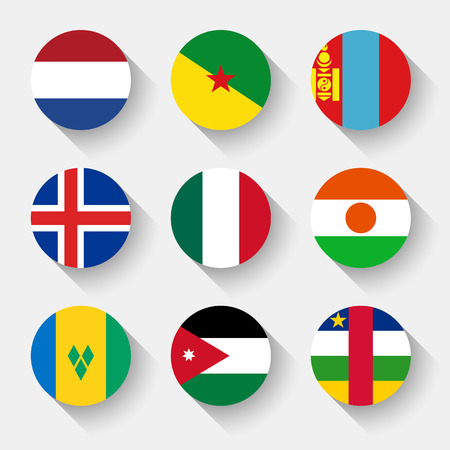 Flags of the world, set 09 with shadow Vector