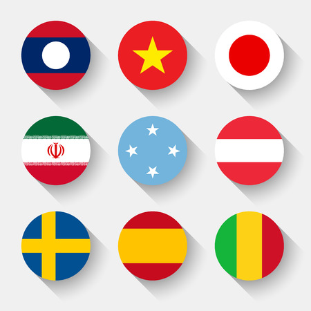 Flags of the world, set 11 with shadow Vector