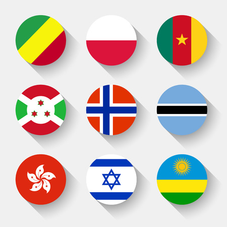 Flags of the world, set 12 with shadow Vector